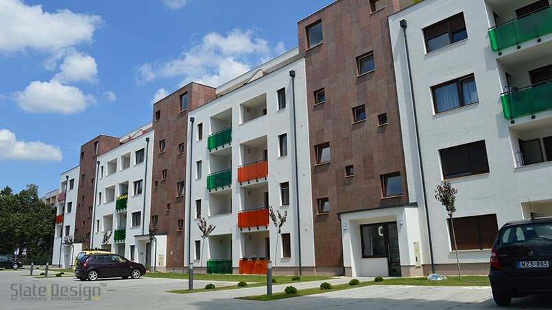 Krúdy Lakópark - placării cu piatră a fațadelor